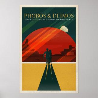 Poster Phobos & Deimos, viagem do turismo de Marte
