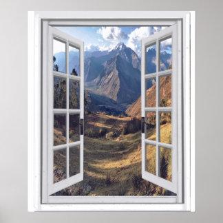 Poster Picos de montanha Trompe - l ' opinião da janela