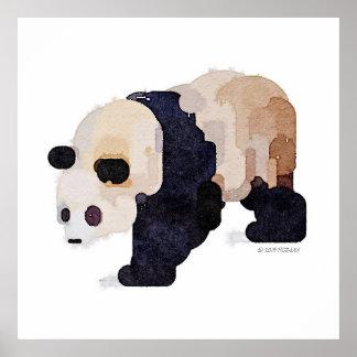 Poster Pintura da aguarela da panda do sorvete (grande)