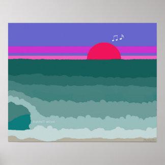 Pôster Pintura digital original da onda do por do sol
