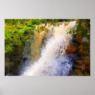 Poster Pintura do abstrato da aguarela da cachoeira