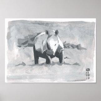 Pôster Pintura do rinoceronte que olha para o visor