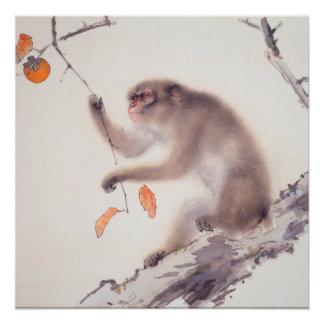 Pôster Pintura japonesa do macaco - ano do macaco
