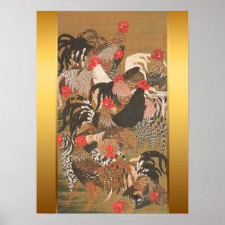 Pôster Pintura japonesa dos galos com fundo dourado