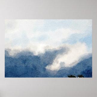Pôster Pintura surreal da aguarela do céu e das nuvens