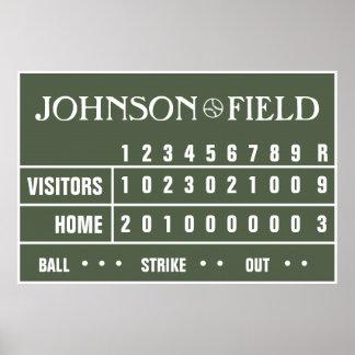 "Poster Placar personalizado do basebol - 60"" x 40"""
