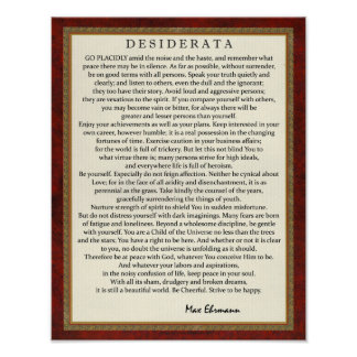 Poster Poema dos Desiderata do estilo tradicional por