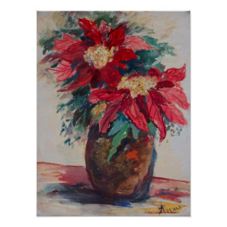 Poster Poinsétias em um vaso de Brown