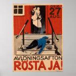 Poster polonês 1922 grande Canva da proibição do v