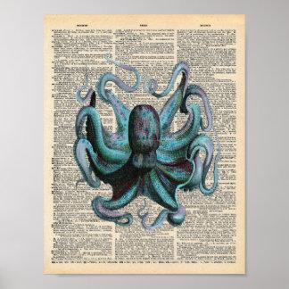 Poster Polvo azul do oceano da arte do dicionário do