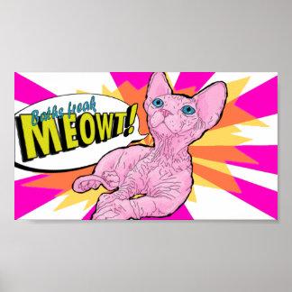 Poster Pop art calvo do gatinho