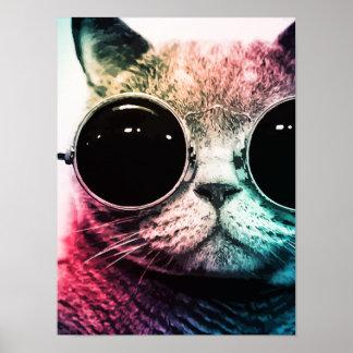 Pôster Pop art do gato do hipster