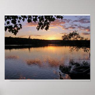 Poster Por do sol no lago St George, Maine