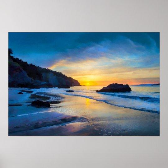 Poster Por do sol no Pacífico na praia San Francisco de
