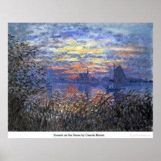 Poster Por do sol no Seine por Claude Monet