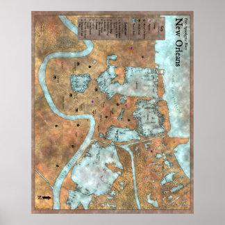 Poster Por terra mapa da cidade: Azuis