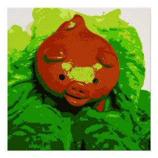 Pôster Porco do poster da arte do miúdo em uma cama da