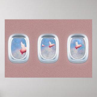 Poster Porcos que voam após janelas do avião