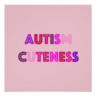 Pôster Poster cor-de-rosa do Cuteness do autismo