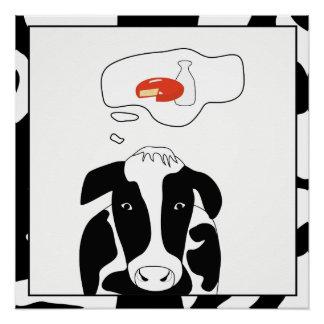 Pôster Poster engraçado do queijo 20x20 do leite de vaca