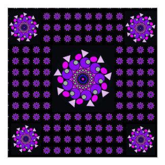 Pôster Poster geométrico de néon cósmico roxo cor-de-rosa
