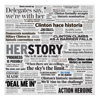 Pôster Poster histórico da colagem do título de Hillary