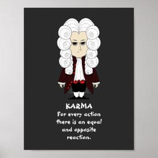 Pôster Poster. Karmas & lei de Newton ó (fundo escuro)