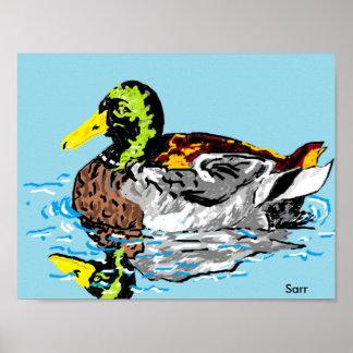 Poster Poster/pato em uma lagoa