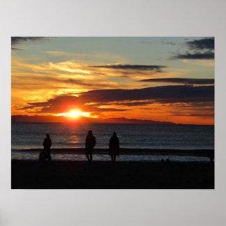 Pôster Poster: Por do sol na praia de Ventura em dezembro