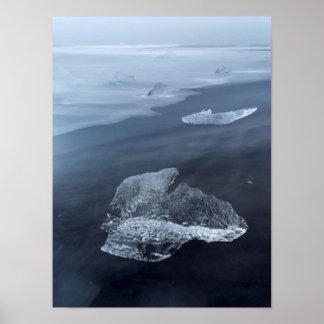 Pôster Praia da areia e gelo pretos, Islândia