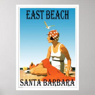 Pôster Praia do leste praia retro 1 de Santa Barbara,