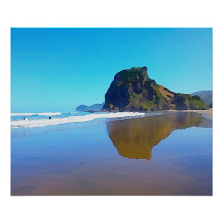 Poster Praia espectacular Piha Auckland Nova Zelândia do