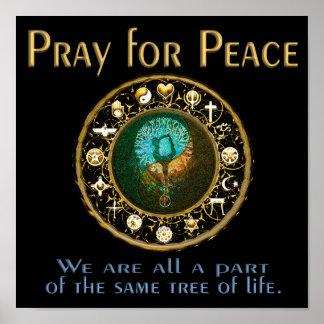Pôster Pray para a paz