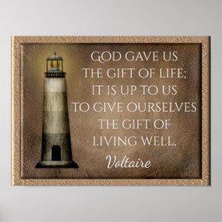 Pôster Presente da vida - citações de Voltaire -