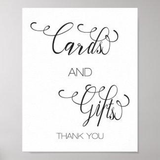 Pôster Presentes dos cartões indicados por letras da mão