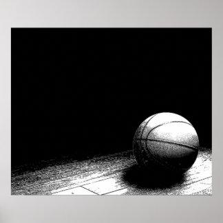 Poster preto & branco do basquetebol pôster