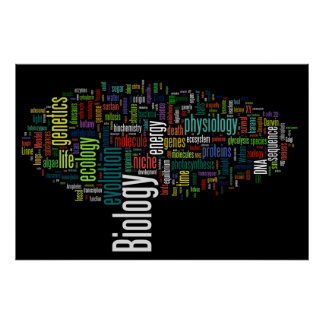 Poster Preto do no. 5 de Wordle da biologia