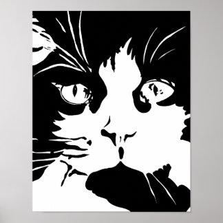 Poster preto e branco do gato