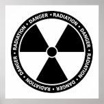 Poster preto e branco do símbolo da radiação