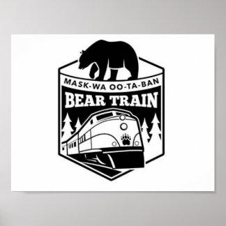 Poster preto e branco do trem do urso