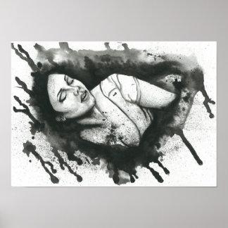 Poster preto e branco fêmea do retrato da aguarela