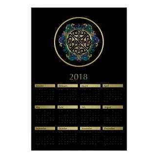 Pôster Preto e calendário celta da mandala 2018 do nó do