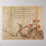 Poster Princípios de Reiki da aguarela da flor de