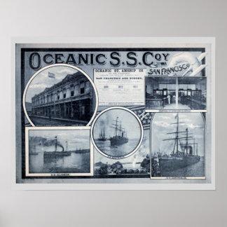 Poster Propaganda de Vintage Oceânico Navio a vapor