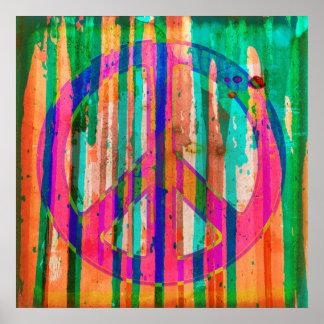 Poster psicadélico colorido do sinal de paz