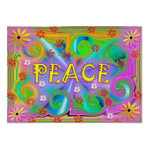 Poster psicadélico da paz