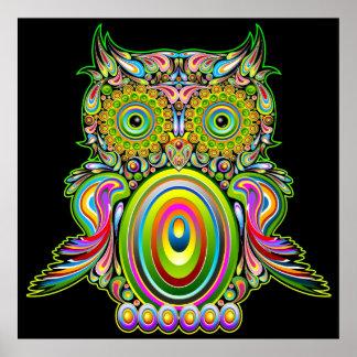 Poster psicadélico de Popart da coruja