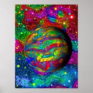 Poster psicadélico de Sgin do mundo