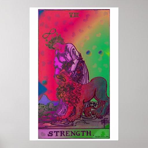 Poster psicadélico do cartão de Tarot da força