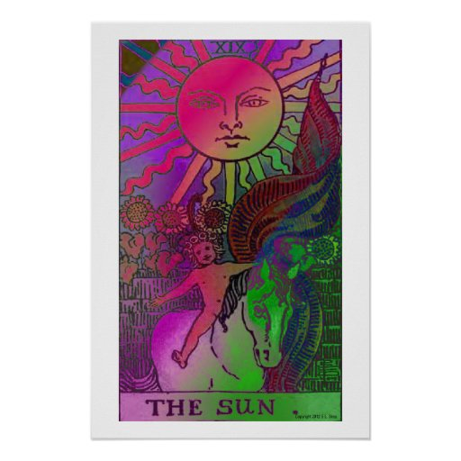 Poster psicadélico do cartão de The Sun Tarot